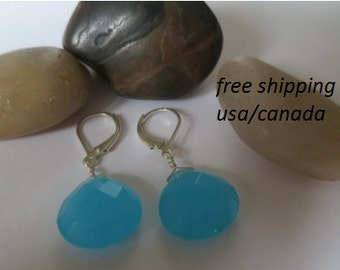Blue chacedony earrings with sterling silver hooks