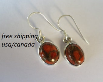 Sterling silver copper coral earrings
