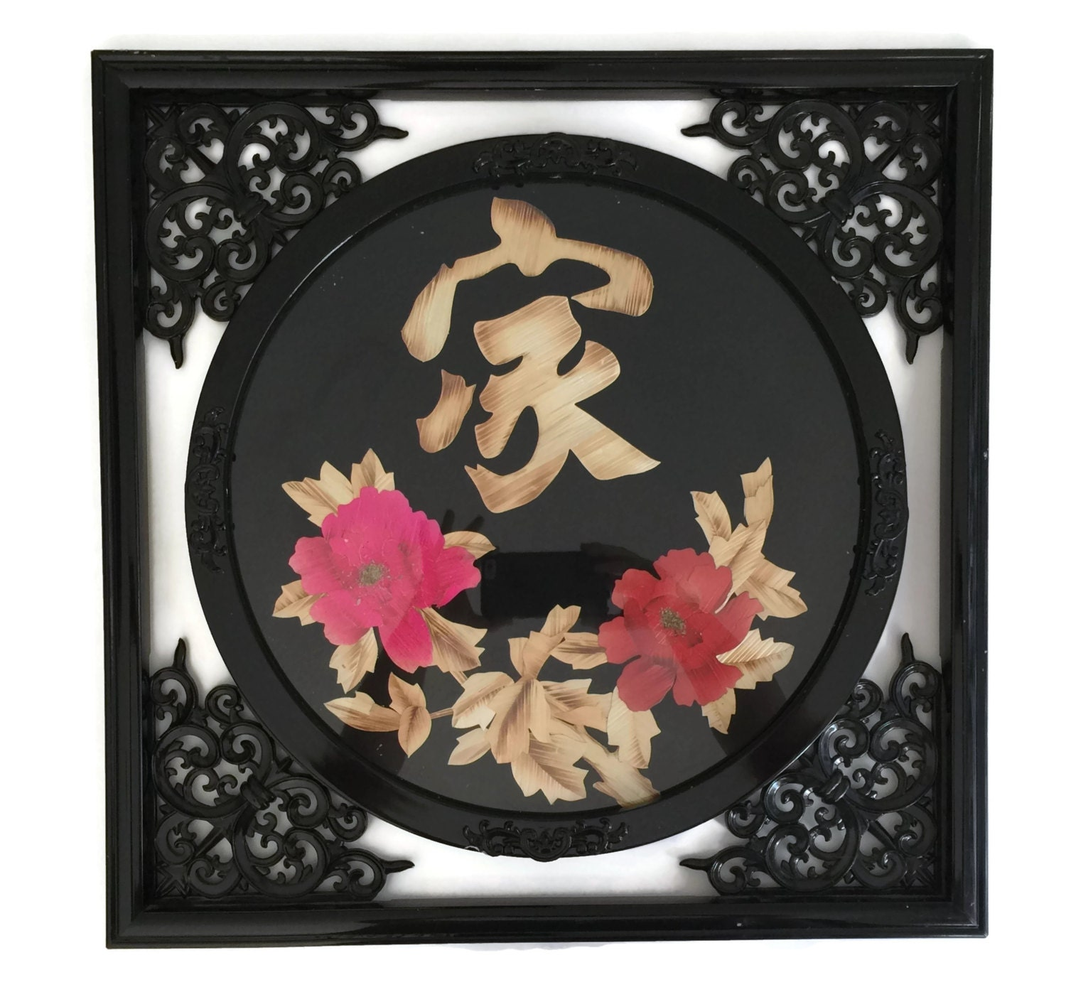 Asian wall art black lacquer wall art chinese art asian for Asian wall art