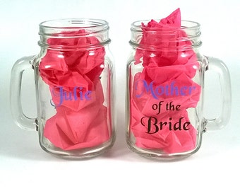 Mother of the bride and groom mason jar glasses - set of two - mother gifts - double sided with names- wedding bridal gifts