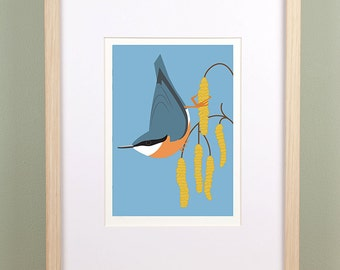 Nuthatch and Catkins Giclée Print - Limited Edition