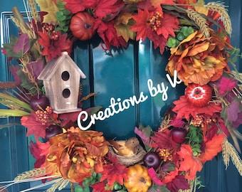 Fall Autumn grapevine wreath