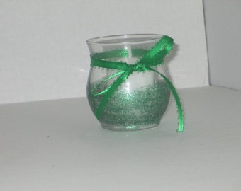 Green candle holder