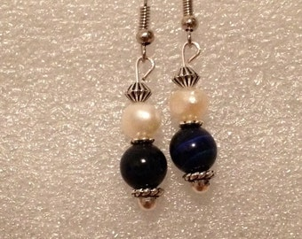 Pearl and blue agate earrings