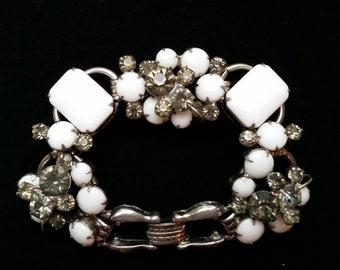 Vintage, Chunky, Milk glass, White, Rhinestone, Bracelet,