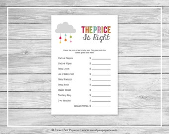 Rainbow Showers Baby Shower Price Is Right Game - Printable Baby Shower Price Is Right Game - Rainbow Baby Shower - Price Is Right - SP100
