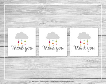 Rainbow Showers Baby Shower Favor Thank You Tags - Printable Baby Shower Thank You Tags - Rainbow Baby Shower - Favor Tags - SP100