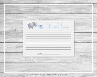 Elephant Baby Shower Thank You Cards - Printable Baby Shower Thank You Cards - Blue and Gray Elephant Baby Shower - Thank You Cards - SP102