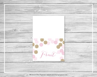 Pink and Gold Baby Shower Buffet Labels - Printable Baby Shower Buffet Labels - Pink and Gold Glitter Baby Shower - EDITABLE - SP106
