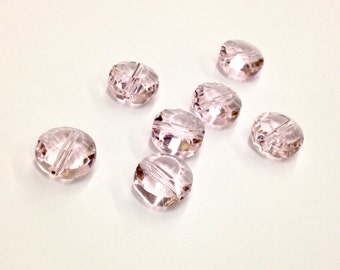 15 Pieces Light Pink/ Rose Beads, Horizontally Drilled, Rose Cut Facets, Fire Polished, 10mm