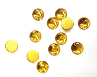 36 Pieces Topaz Glass Cabochons, Golden Topaz, Gold Foil on Back, Vintage, 3 Sizes, 12mm, 10mm, 3mm
