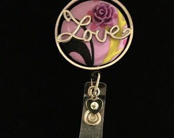 Lavender Love -Nurse Retractable ID Badge Reel/ RN Badge Holder/Doctor Badge Reel/Nurse Badge Holder/Nursing Student Gifts