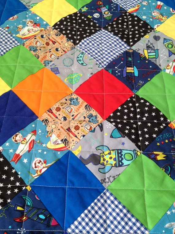 Baby quilt rocket baby quilt outer space baby space baby for Outer space quilt fabric