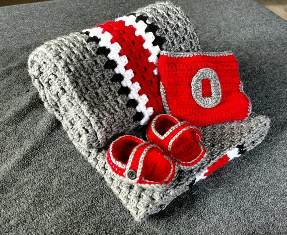 Ohio State Crochet Baby Blanket with Diaper Cover and Baby