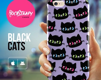 Black cat iPhone 6 case, cute iPhone 7 case, iPhone 6 Plus case, iPhone 5S case, samsung galaxy s7, s6, s5 case, cute cat gift phone cover
