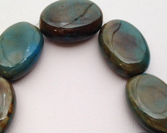 Honey Brown and Teal Oval Porcelain Beads, 26x20mm set of 6