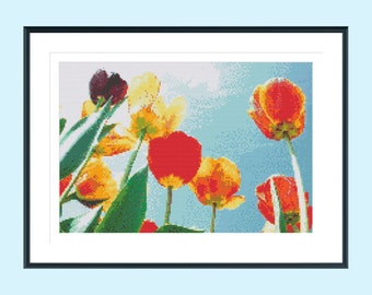 Cross stitch pattern, modern cross stitch pattern, tulip cross stitch pattern, garden cross stitch pattern, tulips, instant download