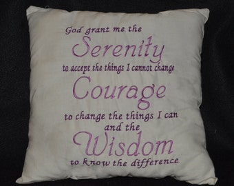 Serenity Prayer Pillow, Embroidered Pillow, Prayers, God Grant Me the Serenity, Throw Pillow, Home Decor