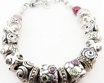 NK Sterling Silver & 18k Gold Ruby and Multi Colored Gemstones Charm Bracelet