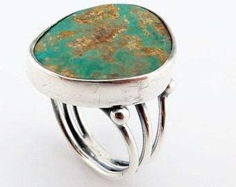 Sterling Silver Huge Turquoise Ring Size 9.75