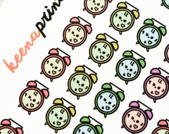 A132 | CLOCK Stickers - Daily Planner Stickers, Diary Stickers, Journal Stickers, Scrapbook stickers