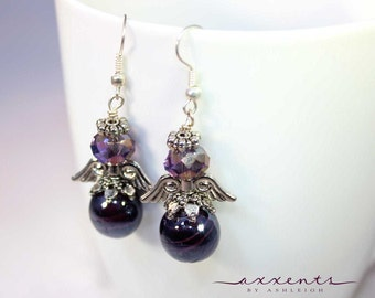 Sterling Silver Plated Purple Angel Earrings