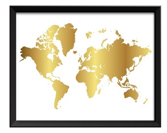 Gold leaf world map etsy world map print white shinny metallic gold leaf look world map poster print globe modern abstract gumiabroncs Gallery
