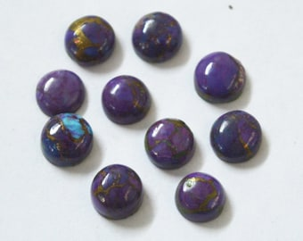 Mix Lot Of 13 pcs. Natural Blue and Purple Copper Turquoise 7-8 mm round Shape Loose Gemstone Cabochon