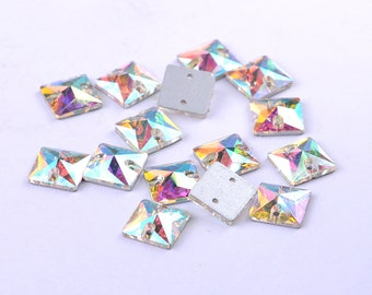 FKZ01S Square Crystal AB Sew On Flatback Rhinestones,  Sew On Rhinestone,Sew On Flackback Crystal AB, Faceted Sew-on