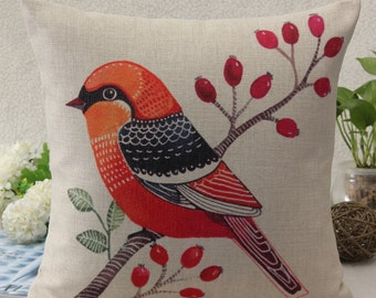 Flower Bird Animal Print Cushion Cover Pillow Case