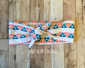 Orange Teal Tribal Triangles - Knotted Head Wrap - Baby Headband - Jersey Knit
