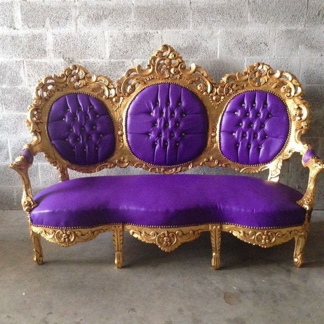 Antique Italian Rococo Throne Purple Leather Chair Bergere