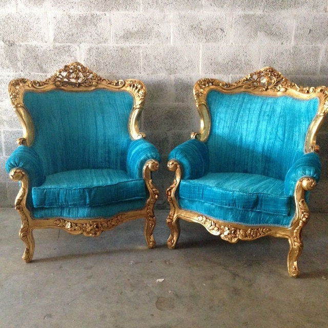 antique italian baroque rococo french louis xvi chairs fauteuil bergere gold leaf refinished reupholster teal turquoise velvet shabby chic