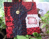 Miniature Quilt, Red White Black, Inspiration Quilt, Handstitched Quilt, Quilt Gifts, 5 x 5