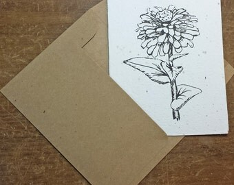 Plantable card - Blank with a flower sketch - Seed paper - Recycled - Grows flowers