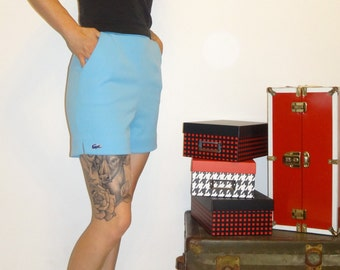 Vintage 1970's LACOSTE Baby Blue Haymaker High Waist Shorts Size 8/ 70s High Shorts/ Lacoste Shorts