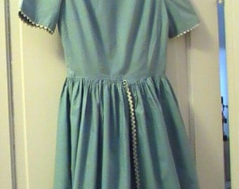 60's Handmade Blue Cotton Dress