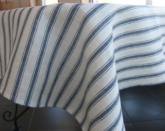 Linen tablecloth blue white striped for dining kitchen table serving 100% linen custom size