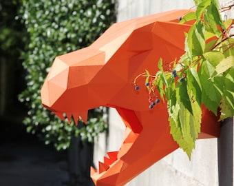 T REX Dinosaur sculpture made in paper, handmade DIY kit, T rex Faux Trophy.