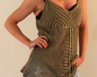 Boho Knitted Draw String Teal Tank Top, Size LARGE