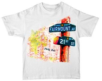 "Fairmount Local Philadelphia Street Signs Kids T Shirt ""Philly Kids"""