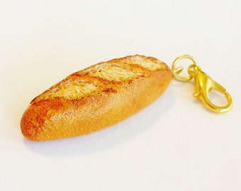 Handmade French Baguette Bread Charm - Polymer Clay Food Charm - Miniature Food Jewelry - Bread Charm