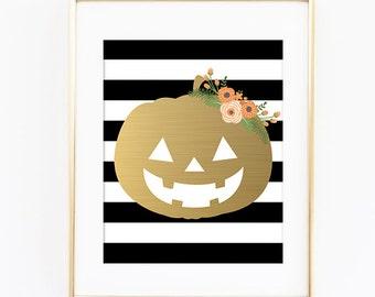 Halloween Pumpkin Floral Autumn Fall Wall Decor Digital Printable Art