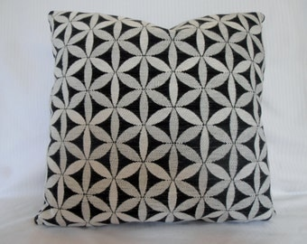black and white pillow cover - charcoal and white tapa cushion - charcoal white geometric pillow - black white geometric cushion