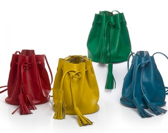 Leather bucket bag, choose your colour -size, red small leather bucket bag with tassels, yellow bucket bag, drawstring leather bucket bag