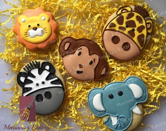 Zoo Animal Safari Baby Shower Birthday sugar cookie favor ( 1 dozen)