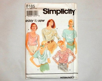 Simplicity 8185 Size AA PT-MD Easy to Sew 1992 Vintage Pattern