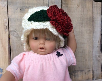 Christmas Crochet hat for baby girl,  baby girl's cloche hat with brim trimmed with a deep red flower,  washable hat, hat with brim
