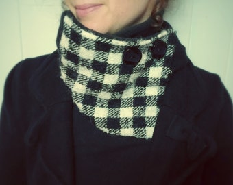 neck warmer, scarf, recycled textiles, snood, infinity scarf, black and white