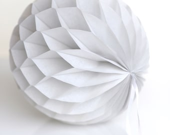 Cool grey / gray Tissue paper honeycomb ball - hanging wedding party decorations-paper lantern-birthday decor-round paper ball-nursery decor